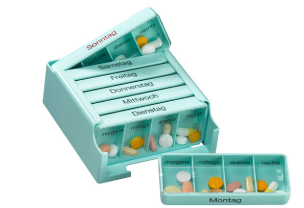 Medi-7 Medikamentenkassette mit 7 Tages-Dosen Hellblau